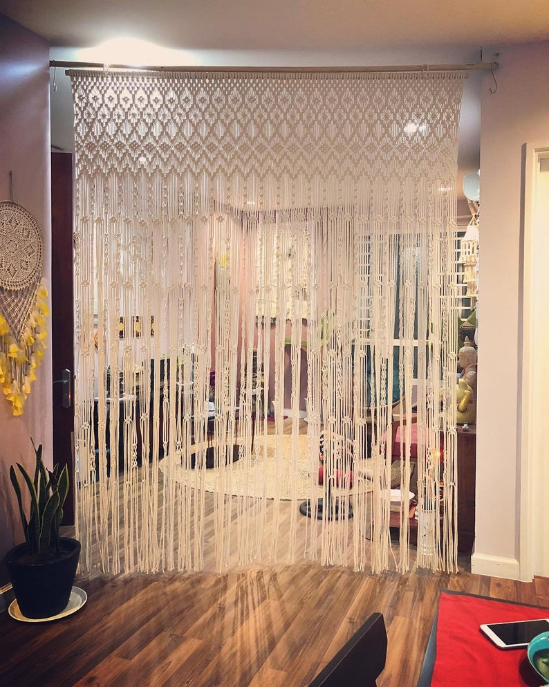 Macrame Curtains Shower Curtains Macrame Fabric Panels Curtains Doorway Curtain