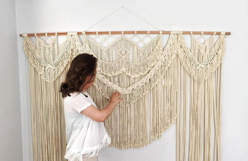 Boho Macrame Wall Hanging-Handmade Art-Woven - Macrame Curtains