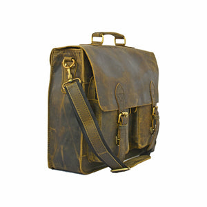 Ross Leather Briefcase Laptop Messenger Bag - BohoEntice