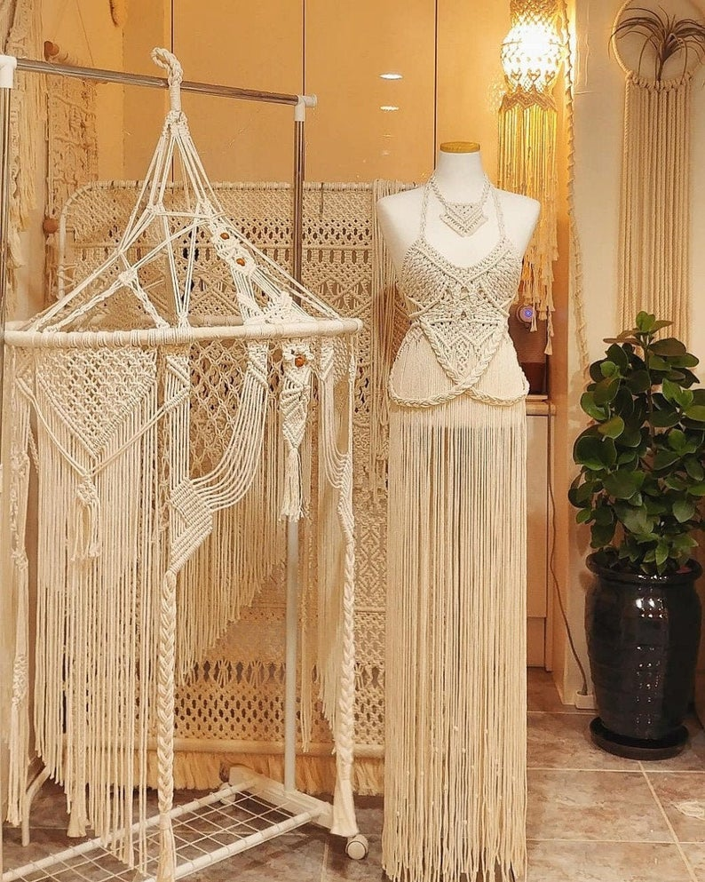 Handmade Art Macrame Dress -Wedding Dress-Partyware Dresses-Womans Tops