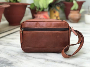 Rustic Brown Milled Buffalo Leather Wristlet Pouch, Wristlet Purse, Cash Bag