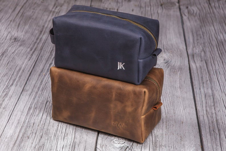 Mens toiletry bag, Leather shaving kit, Personalized dopp kit