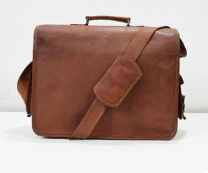 One Pocket Dark Brown Leather Bag - BohoEntice