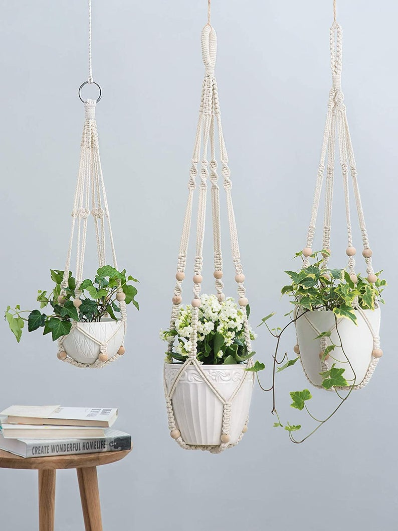 3 Pack Macrame Plant Hangers Indoor Hanging Planter Basket Cotton Rope with Beads No Tassels