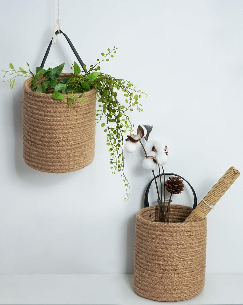 2 pack Jute Hanging Basket - Small Woven Fern Hanging Basket, Jute Woven Basket
