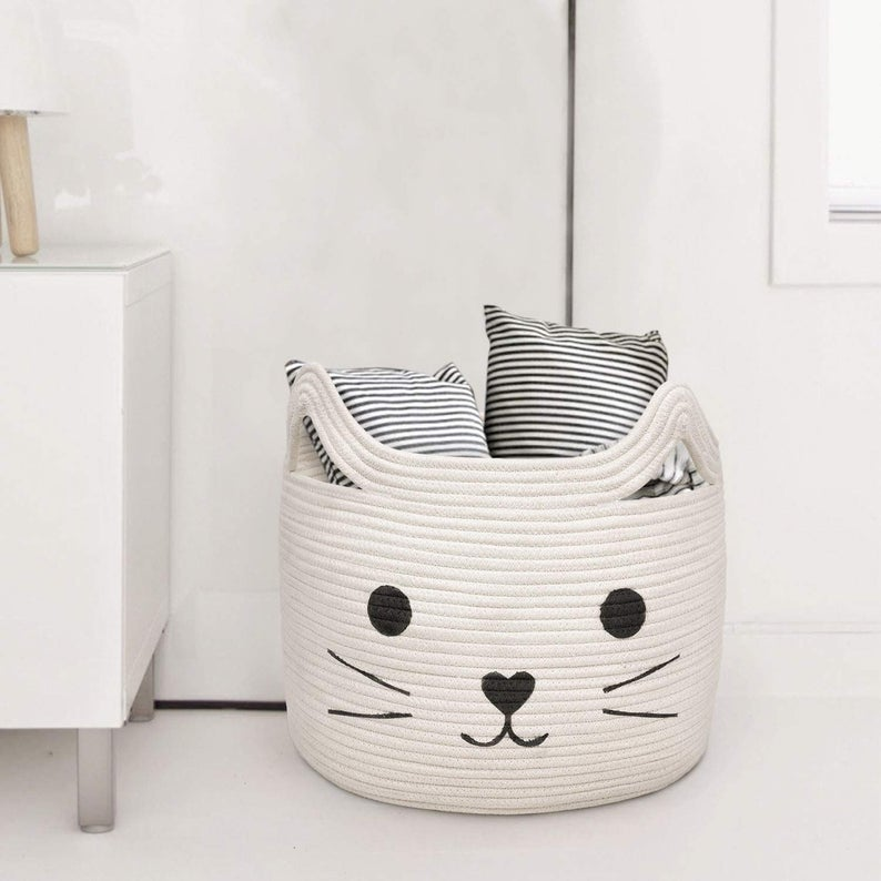 Large Woven Cotton Rope Storage Basket, Basket Organizer for Towels, Blanket, Toys, Clothes, Gifts