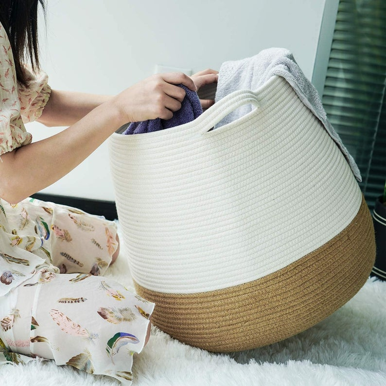 Cotton Thread Rope Basket Cute Round Woven Rope Basket Jute Storage