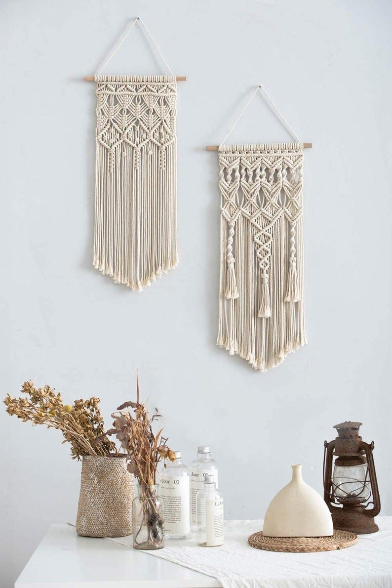 2 Pcs Macrame Woven Wall Hanging, Boho Chic Bohemian Home Art Decor