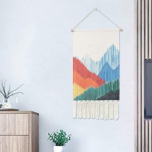 Macrame Wall Hanging Bohemian Style Cotton Fringe Tassel Banner with Copper Hanging Rod