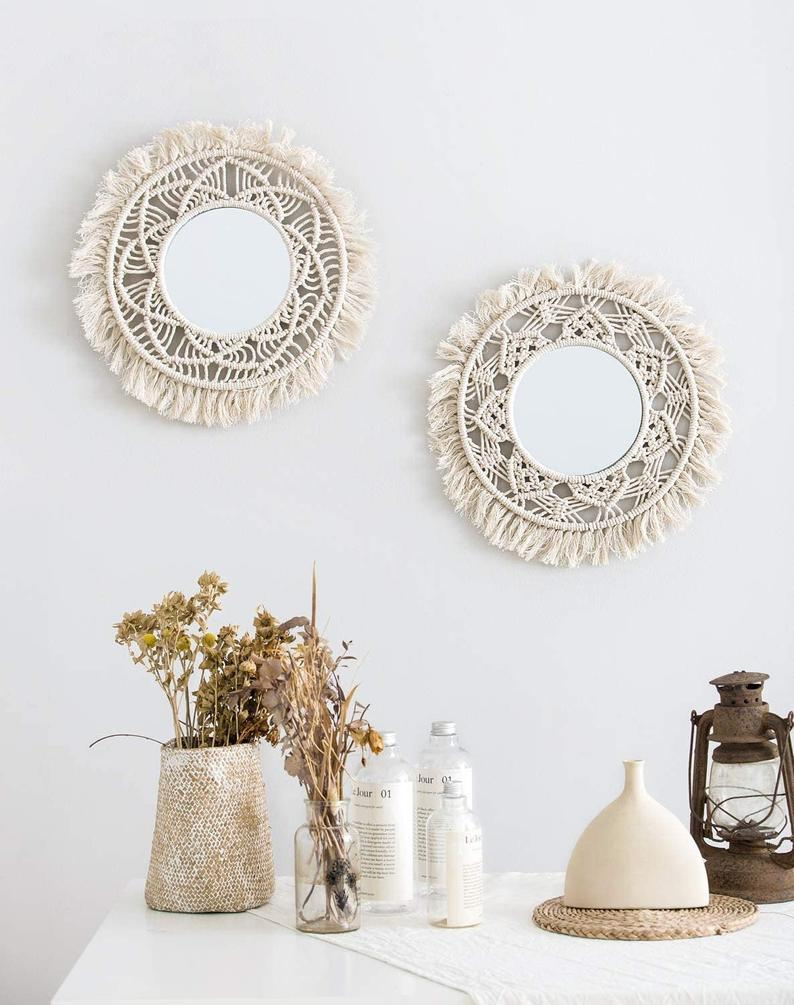 Hanging Wall Mirror with Macrame Fringe 2 Set Small Round Boho Antique Mirror