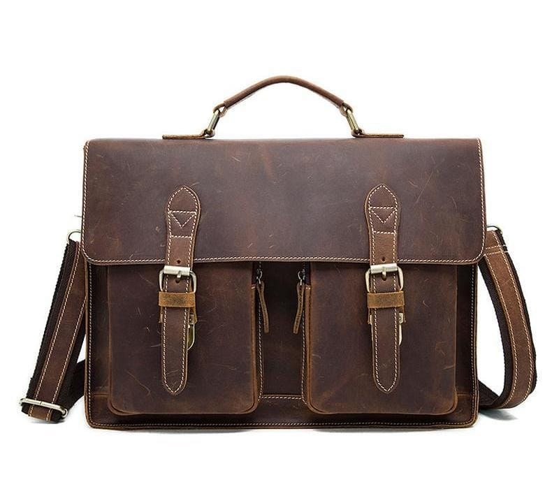 Fathers day Gift Dominick Leather Briefcase Laptop Messenger Bag - BohoEntice