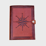 Compass Embossed Refillable Personalise Leather Journal - BohoEntice