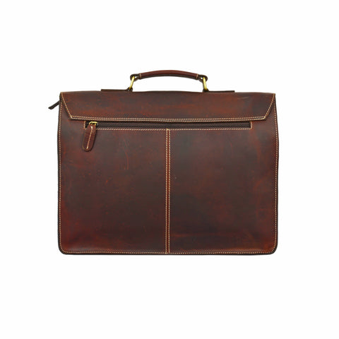 James Leather Messenger Briefcase Bag - BohoEntice