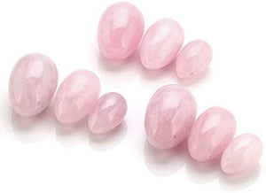 Yoni Eggs 3 Size Drilled Rose Crystal Quartz Eggs - BohoEntice