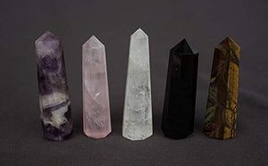 Crystal Wands Sticks - Meditation Collection Set of 5 Five for Meditation, Relaxation and Health Benefits
