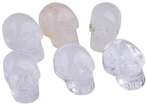 6pcs Clear Quartz Crystal Skull Collectible Figurines Human Skull Statue Hand Carved Mini 1.5""