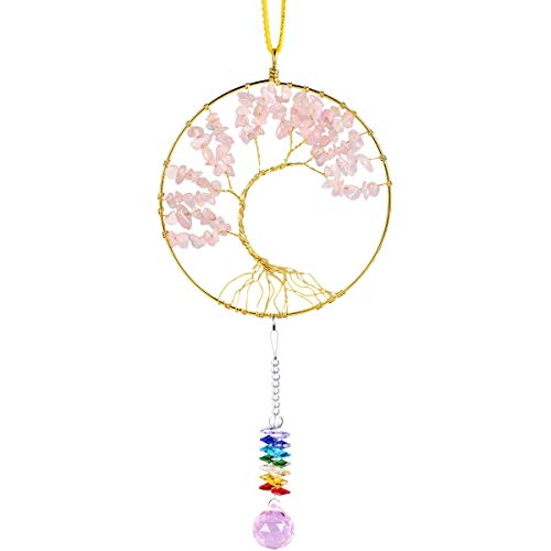 7 Chakras Stones Healing Crystals Tree of Life Wall Hanger Tumbled Gemstones Meditation Hanging Ornament - BohoEntice