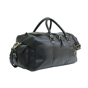Elijah Black Soft Leather Duffle Bag, Travel Bag - Halloween Gift