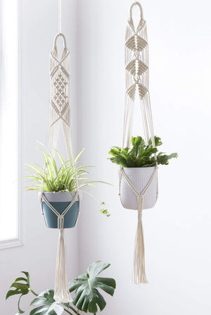 Macrame Cotton Plant Hanger [Without Pot] | Rope Flower Pot Holder for Indoor Outdoor Balcony Garden Wall | Home Décor Basket Hanger