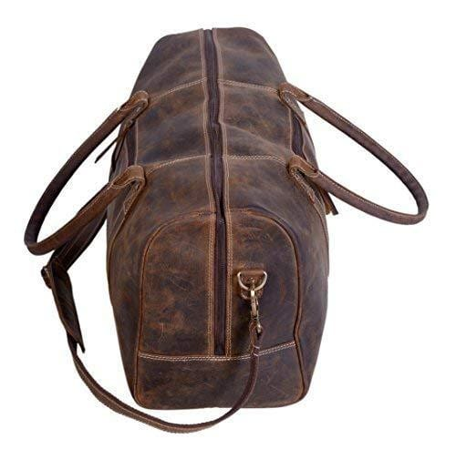 Brandon Rustic Brown Traveler Leather Duffel Bag - BohoEntice