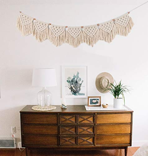 Macrame Wall Hanging Fringe | Bohemian Woven Garland Banner | Home Decoration for Apartment Bedroom Living Room Nursery | Boho Shabby Chic Bohemian Wall Decor