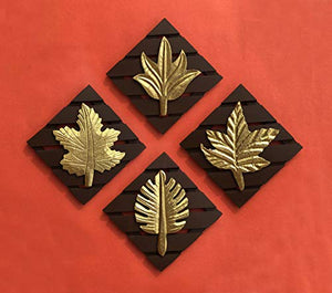 Brown Square Set of 3 Leaf Wall Art -Brass Wood for Home Decor/Living Room - BohoEntice