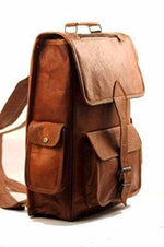 Brown Denver Leather One Big Pocket Rucksack Backpack - BohoEntice