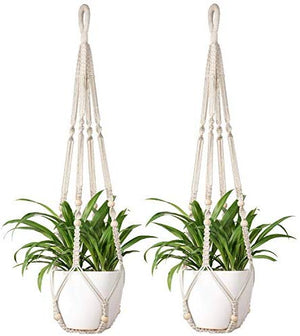 2 Pcs Macrame Plant Hangers Indoor Hanging Planter Basket Flower Pot Holder Jute Rope with Beads - BohoEntice