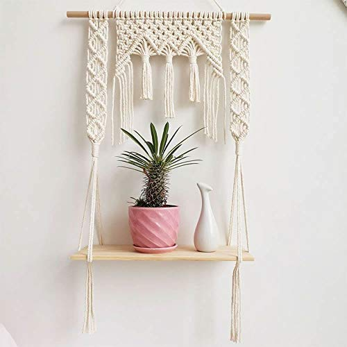 Macrame Wall Hanging Shelf, Wood Floating Hanging Storage Shelf Organizer Hanger - BohoEntice