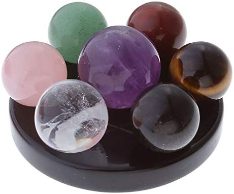 Seven Star Group Natural Amethyst Chakra Crystal Sphere Ball with Black - BohoEntice