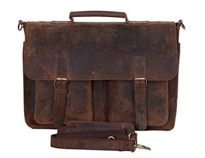 Rustic Leather Briefcase Laptop Messenger Bag