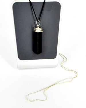 Raw Black Tourmaline Crystal Healing Pendant Necklace - BohoEntice