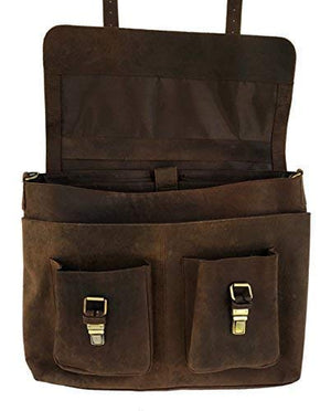 Rustic Leather Briefcase Laptop Messenger Bag - BohoEntice