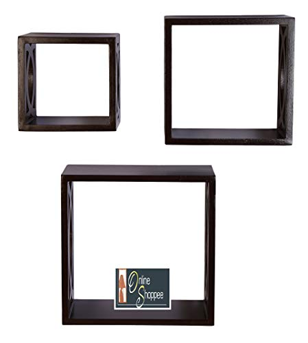 Wall Rack, Set of 3 (Brown) - BohoEntice