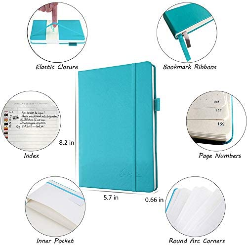 Bullet Dotted Journal Kit A5 Dotted Bullet Grid Journal Set with 224 Pages Teal Notebook