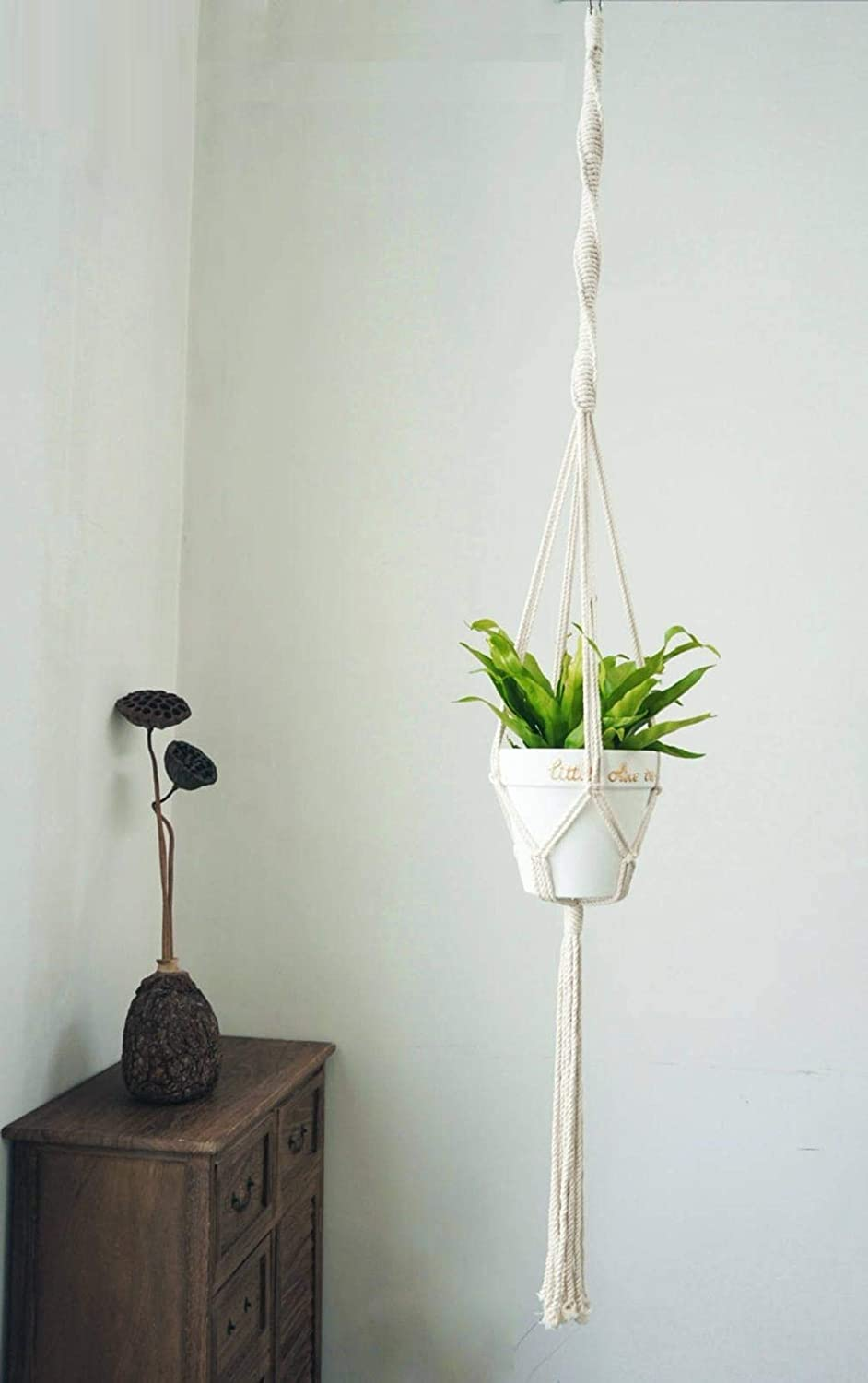 Macrame Cotton Plant Hanger | Rope Flower Pot Holder for Indoor Outdoor Balcony Garden | Home Décor, Decorative Interior Bohemian Basket Hanger