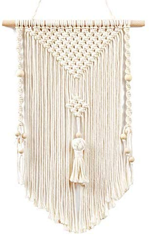 Small Macrame Wall Hanging Woven Tapestry Boho Chic Wood Beads Fringe Wall Art Home Decor - BohoEntice