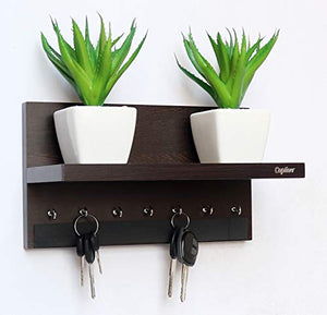 Display 7 Hook Wall Mounted Wooden Key Holders with Shelf Wenge/Decorative - BohoEntice