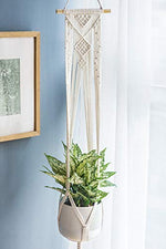 Macrame Plant Hangers Set of 4 Indoor Wall Hanging Planter Basket Flower Pot Holder - BohoEntice