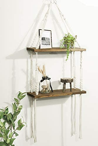 Macrame Hanging Shelves -  2 Tier Rope Floating Shelf, Rustic Wood Wall Shelves with Handmade Woven Hanger