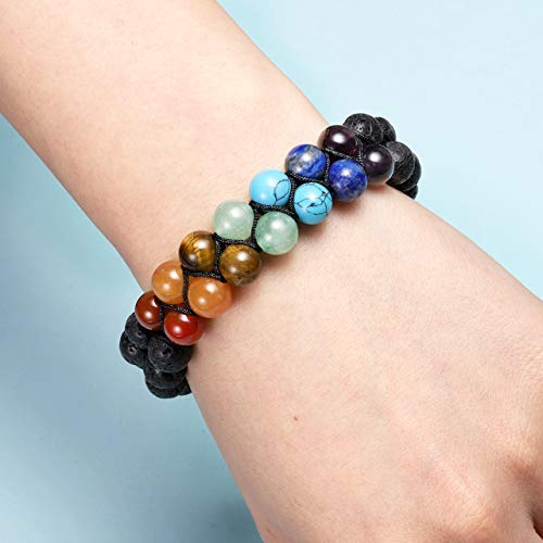 Copy of 7 Chakra Bracelet Natural Lava Rock Stones - BohoEntice