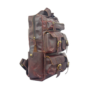 Brent Leather Dark Brown Rucksack Backpack - BohoEntice