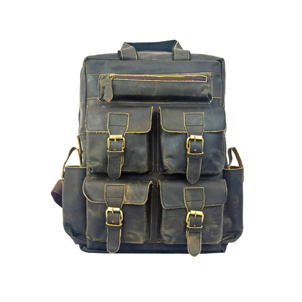 Brent Leather Green Rucksack Backpack - BohoEntice