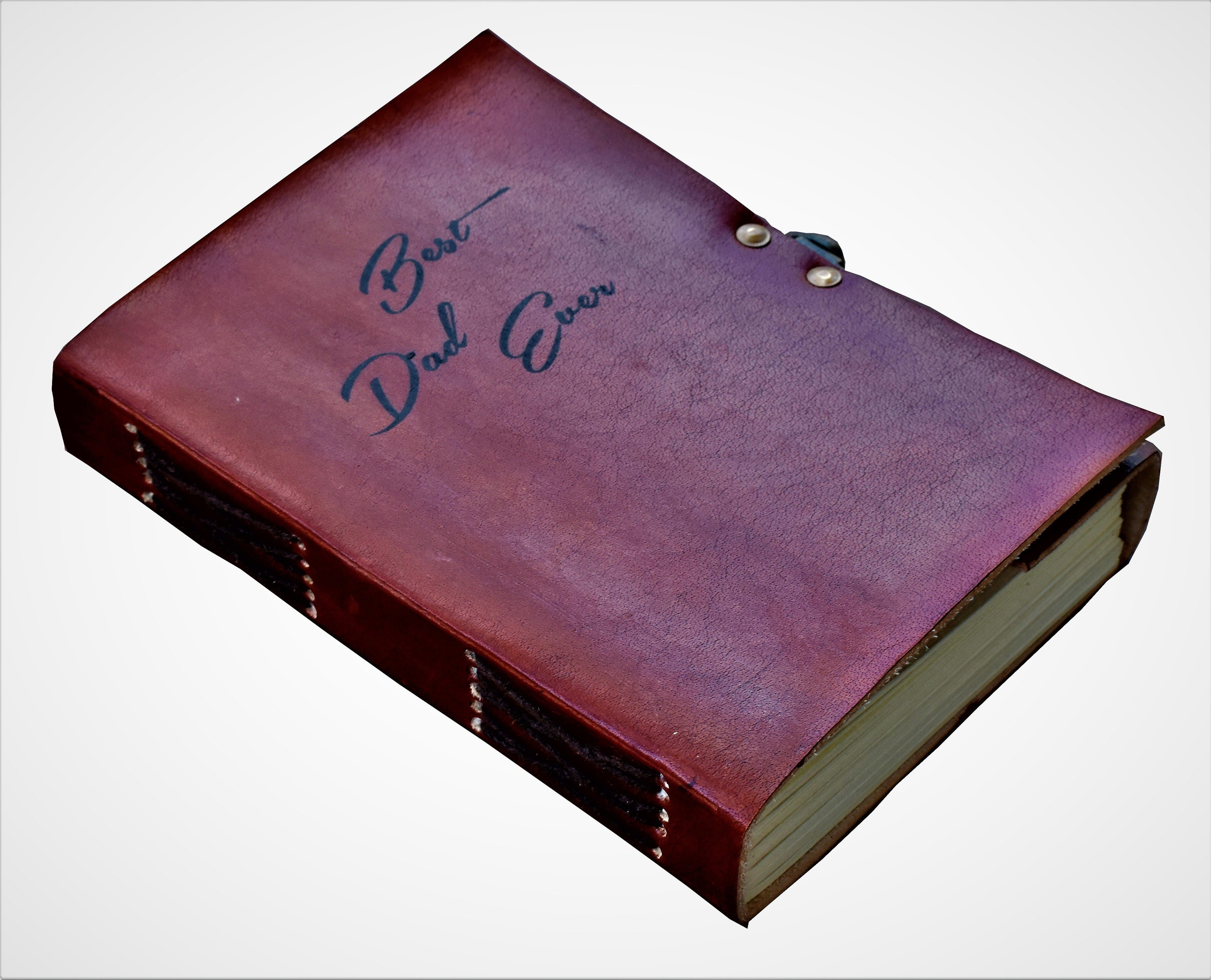 Best Dad Ever Quote Personalise Leather Journal - BohoEntice
