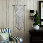 Woven Macrame Wall Hanging Natural Cotton Handmade Woven Tapestry Art Home Wall Decor 42x57.5in: - BohoEntice