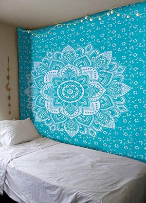 International Turquoise Silver Passion Ombre Mandala Tapestry, Boho Mandala Tapestry, Wall Hanging, Gypsy Tapestry, 84 X 54 inches: Home & Kitchen - BohoEntice