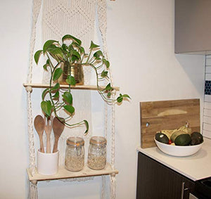 Macrame Wall Hanging Shelf - Boho Indoor Hanging Wall Decorative Bohemainmain - BohoEntice
