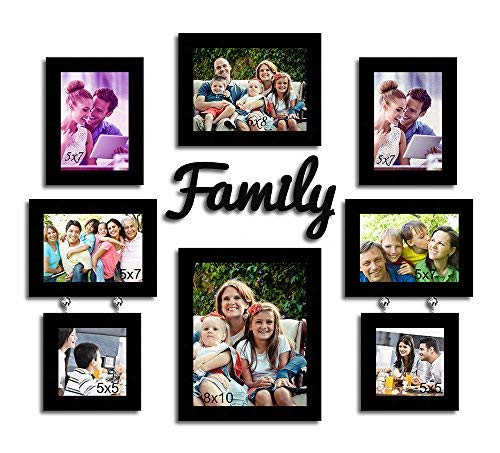 Set of 5 Individual Black Wall Photo Frames with Family - BohoEntice