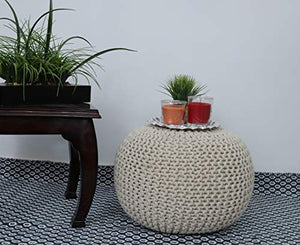 Hand Knitted Pouf Ottoman Foot Stool for Bedroom, Living Room, 50x50x35 cm (Natural): - BohoEntice