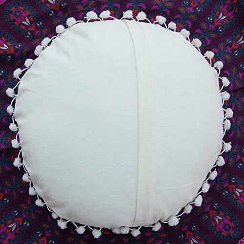 Vintage Suzani Embroidered Work Round Cotton Cushion Cover - BohoEntice